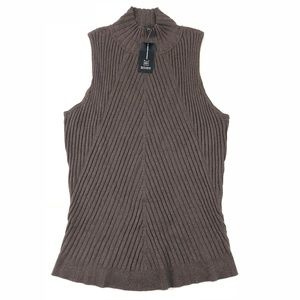 INC Brown Sleeveless Knit Cowl Sweater XL
